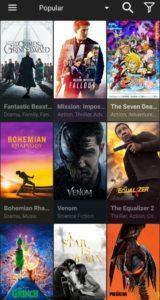 cinema app home screen