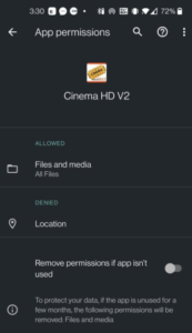 cinema hd v2 permissions