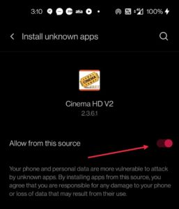 enable automatic updates on cinema hd android
