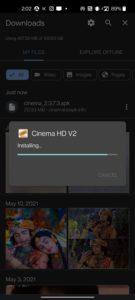 installing cinema v2 apk on android